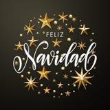 Spanisches frohe Weihnacht-Feliz Navidad-Goldfunkeln spielt Grußkarte die Hauptrolle vektor abbildung