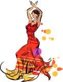 Spanisches Mädchen mit Gebläsetänzen ein Flamenco, Abbildung Lizenzfreie Stockfotos