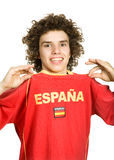 Spanish. Young boy supporter, isolated on white Stock Photography