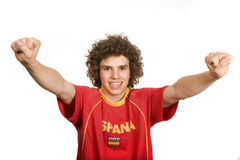 Spanish. Young boy supporter, isolated on white Royalty Free Stock Image