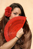 spanish. Spanish flamenco dancer with fan Stock Images