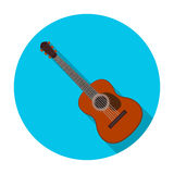 Spanish acoustic guitar icon in flat style isolated on white background. Spain country symbol stock vector illustration. Royalty Free Stock Photography