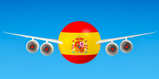 Spanish airlines and flying`s, flights to Spain concept. 3D rend Stock Photos