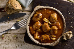 Spanish albondigas con sepia, meatballs with cuttlefish Stock Images