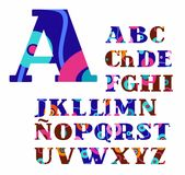 Spanish alphabet, abstract, circles, colorful, vector font. Royalty Free Stock Images