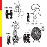 Spanish alphabet. Ant, question, giraffe, kiwi. Vector letters and characters. vector illustration
