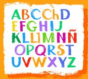 Spanish alphabet, capital letter, colored crayons. Stock Image
