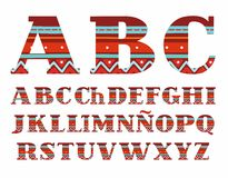 Spanish alphabet, capital letters, folk decor, vector, red. Royalty Free Stock Image