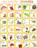 Spanish alphabet. For children with funny pictures vector illustration