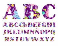 The Spanish alphabet, colors, vector font, capital letters, violet-purple. vector illustration