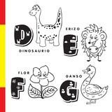 Spanish alphabet. Dinosaur, hedgehog, flower, goose. Vector letters and characters. Spanish alphabet. Dinosaur, hedgehog, flower goose Vector letters and Stock Illustration