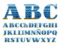 Spanish alphabet, folk pattern, blue, vector font, capital letters. The letters of the Spanish alphabet with serifs. Blue zigzags and stripes on a dark blue Stock Photography