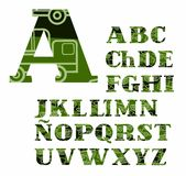 Spanish alphabet, military equipment, uppercase, vector, font, color. Royalty Free Stock Photo