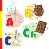 Spanish alphabet. Needle, owl, chocolate, rabbit. Vector letters and characters. Spanish alphabet. Needle, owl, chocolate rabbit Vector letters and characters Royalty Free Stock Image