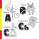 Spanish alphabet. Needle, owl, chocolate, rabbit. Vector letters and characters. Stock Image