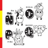 Spanish alphabet. Wildebeest, sheep, pineapple, cheese. Vector letters and characters. Spanish alphabet. Wildebeest, sheep, pineapple cheese Vector letters and Stock Photography