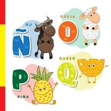 Spanish alphabet. Wildebeest, sheep, pineapple, cheese. Vector letters and characters. Spanish alphabet. Wildebeest, sheep, pineapple cheese Vector letters and Royalty Free Stock Photography