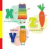 Spanish alphabet. Xylophone, carrots, yogurt. Vector letters and characters. Stock Photography