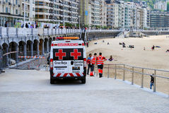 Spanish ambulance and emergency personel Stock Photo
