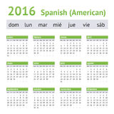 2016 Spanish American Calendar. Week starts on Sunday Royalty Free Stock Photos
