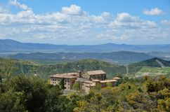 Spanish ancient monastery in the hills of Navarra Royalty Free Stock Photo
