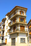 Spanish Apartments. A 4 storey block of apartments on the corner of a Spanish street Royalty Free Stock Photo