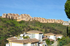 Spanish Apartments Calahonda Spain. Afyternoon view of an aprtment complex on the top of the Sitio de Calahonda Costa del Sol Spain Stock Image