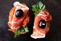 Spanish appetizer with jamon Royalty Free Stock Photos