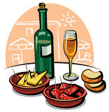 Spanish appetizers and wine Stock Photography
