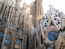 Antonio Gaudi cathedral in Barcelona,Catalunya. Spanish architect Gaudi design the amazing cathedral build in 1882.Still not finish in 2016.Named in spanish La stock photos