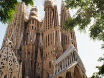 Antonio Gaudi cathedral in Barcelona,Catalunya. Spanish architect Gaudi design the amazing cathedral build in 1882.Still not finish in 2016.Named in spanish La royalty free stock photos