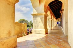 Spanish architecture columns details exterior. Royalty Free Stock Photography