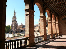 Spanish architecture at Plaza de Espana in Seville Stock Photos