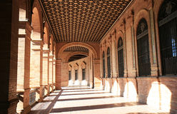 Spanish architecture at Plaza de Espana, Seville. The Plaza de Espana or Spain Square, a landmark example of the Renaissance Revival style in Spanish Royalty Free Stock Photography