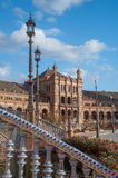 Spanish architecture of Plaza de Espana in Seville. Architectural details of the buildings and brdges of Plaza de Espana in Seville Royalty Free Stock Images
