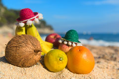 Spanish assortment fruit at the beach. Assortment Fresh Spanish fruit with Sombrero at the beach Royalty Free Stock Images