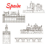 Spanish attractions icon for tourism design Royalty Free Stock Images