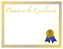 Spanish Award of Excellence with golden ribbon. Spanish Award of Excellence with golden ribbon illustration Stock Photo