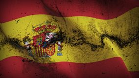 Spain grunge dirty flag waving on wind. Spanish background fullscreen grease flag blowing on wind. Realistic filth fabric texture on windy day Royalty Free Stock Photography