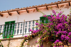 Spanish balcony with flowers Stock Photos