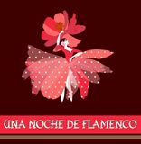 Spanish ballerina in red dress with white polka dots and hat in the shape of flower, dancing traditional folk dance. Night of Flamenco text in Spanish stock illustration