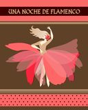 Spanish ballerina with red flower in blonde hair dressed in puff-skirt costume dancing Spain national dance. Flamenco night. Inspiration in Spanish. Concert vector illustration