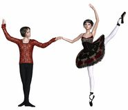 Spanish Ballet Pas de Deux. Young ballet dancers performing a Spanish dance pas de deux from a classical ballet, 3d digitally rendered illustration Royalty Free Stock Images