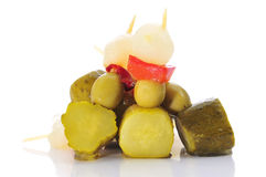 Spanish banderillas, skewers with pickles Stock Photos