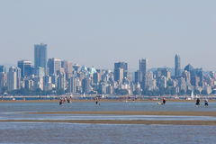 Spanish Banks and skyline, Vancouver, BC. View of Vancouver skyline as people and pets enjoy the low tide from Spanish Banks stock photos