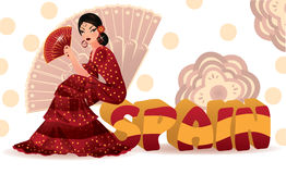 Spanish banner with traditional flamenco girl. Stock Photos