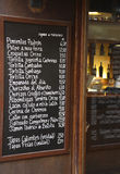 Spanish Bar Menu Stock Image