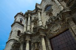 Spanish Basillica, Havana. Detail of famous cathedral in old Havana stock image