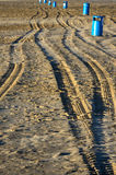 Spanish beach with car tire traces Royalty Free Stock Images