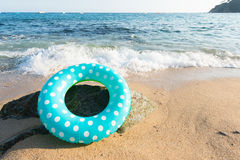 Spanish beach. Landscape Spanish Costa Brava beach with inflatable toys Stock Image